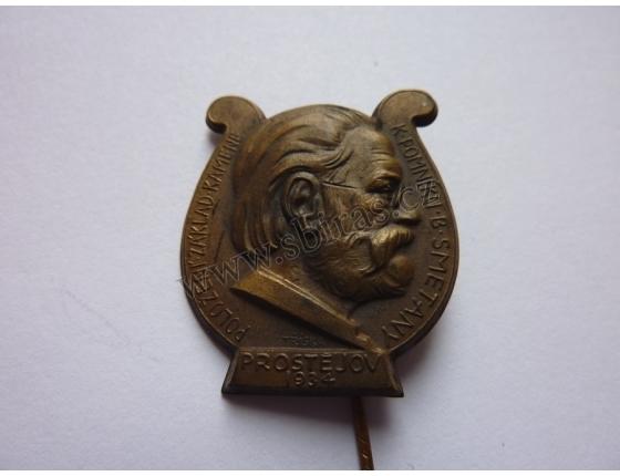 Bedřch Smetana - pomník v Prostějově 1934, odznak jehla
