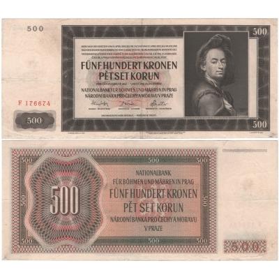 500 korun 1942, I. vydání, série F, neperforovaná
