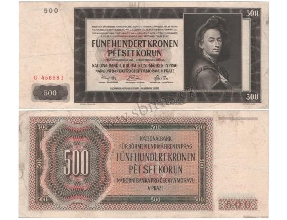 500 korun 1942, I. vydání, série G, neperforovaná