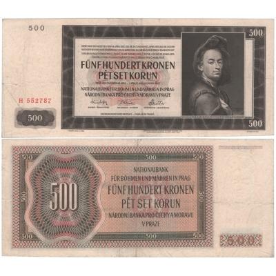 500 korun 1942, I. vydání, série H, neperforovaná