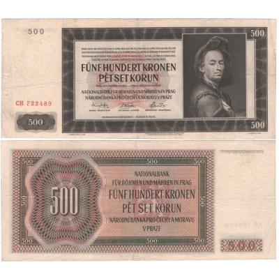 500 korun 1942, I. vydání, série CH, neperforovaná