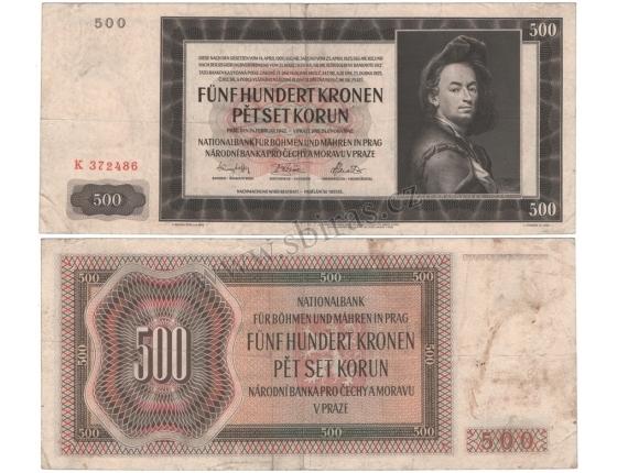 500 korun 1942, I. vydání, série K, neperforovaná