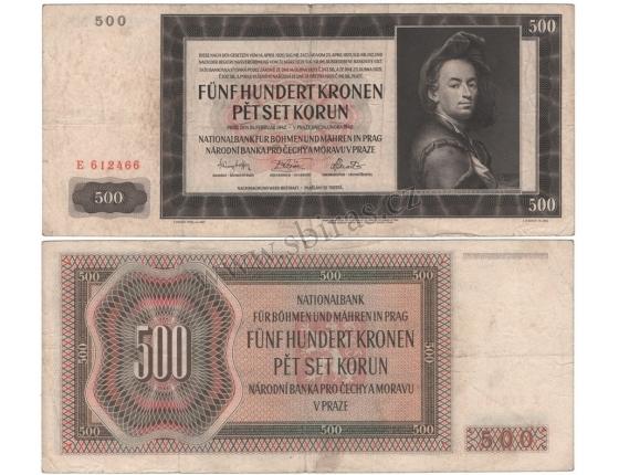 500 korun 1942, I. vydání, série E, neperforovaná