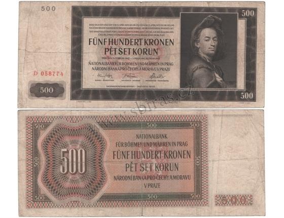 500 korun 1942, I. vydání, série D, neperforovaná