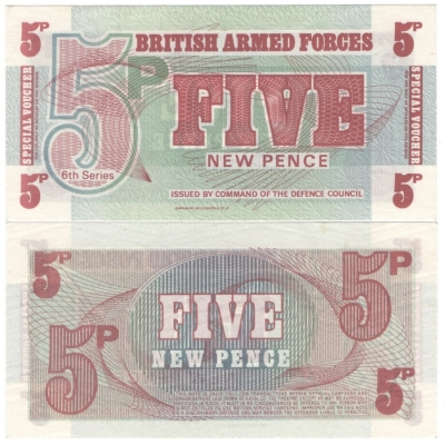 Velká Británie - armádní poukázka 5 new pence aUNC