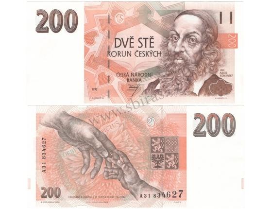 "200 korun 1993 UNC, série A, proužek ""200 Kčs"""