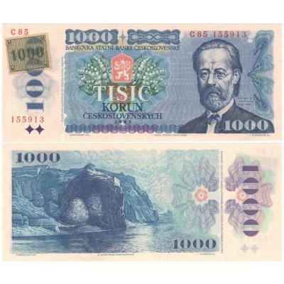 1000 korun 1985 UNC, série C, lepený kolek