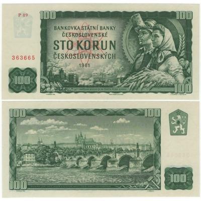100 korun 1961 UNC, série P