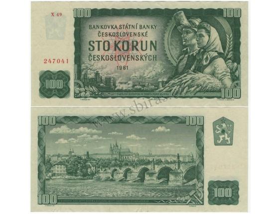 100 korun 1961, neperforovaná, série X