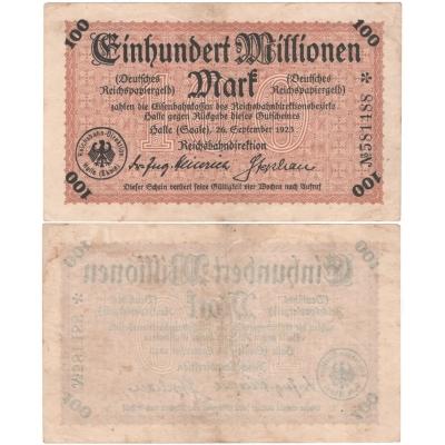 Německo - bankovka 100 Milionů Marek 1923 Halle - ŽELEZNICE