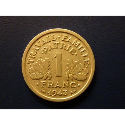 Francie - mince 1 Frank 1943 nacistická okupace Francie