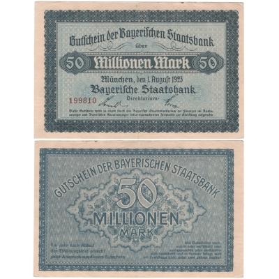 Německo - bankovka 50 Milionů marek 1923 Bayerische Staatsbank Mnichov