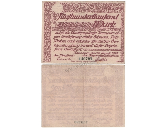 Německo - bankovka 500 000 Marek 1923 HANNOVER