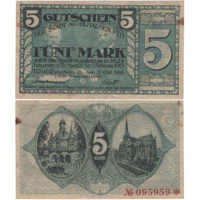 Německo - bankovka 5 Marek 1918 - MÜHLHAUSEN