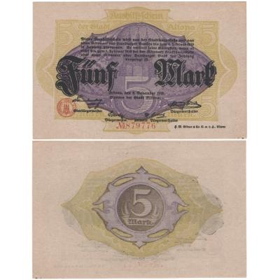 Německo - bankovka 5 Marek 1918 ALTONA UNC
