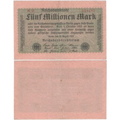 Německo - bankovka 5 000 000 Marek 1923 BERLÍN