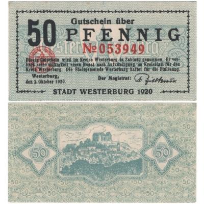 Německo - bankovka 50 PFENNIG 1920 Westerburg