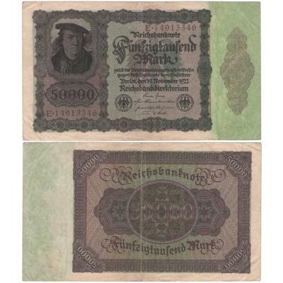 Německo - bankovka Reichsbanknote 50 000 marek 1922