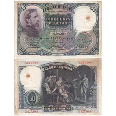 Španělsko - bankovka 50 PESETAS 1931