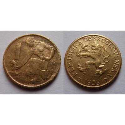 Tschechoslowakei - Münze 1 Krone 1959