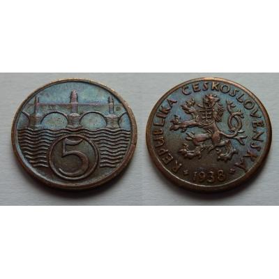 Československo - mince 5 haléřů 1938