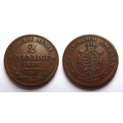 Německo - 2 pfennig 1866 B, Sachsen