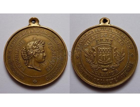 Světová výstava Paříž 1878 - pamětní medaile
