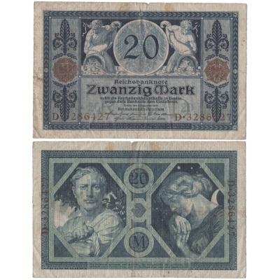 Německé císařství - bankovka 20 marek 1915