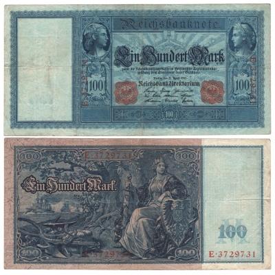 Německé císařství - bankovka 100 marek 1910, červený číslovač, modrý papír