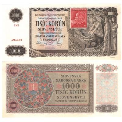 Slovenský štát - bankovka 1000 korun 1940, kolek UNC