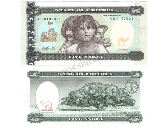 Eritrea - bankovka 5 nakfa 1997 UNC