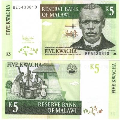Malawi - bankovka 5 kwacha 2005 UNC