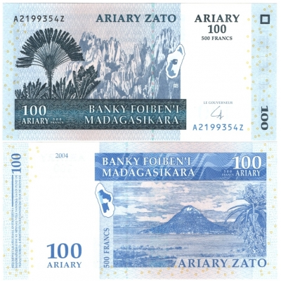 Madagaskar - bankovka 100 ARIARY/500 FRANCS 2004 UNC