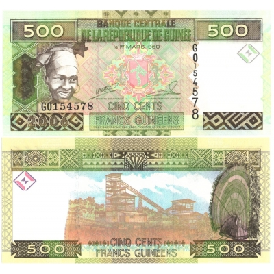Guinea - bankovka 500 francs 2006 UNC