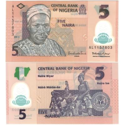 Nigérie - bankovka 5 naira 2013 UNC, polymerová bankovka