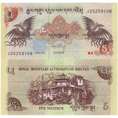 Bhútán - bankovka 5 Ngultrum 2015 UNC