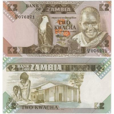 Zambie - bankovka 2 kwacha 1980-1988 UNC