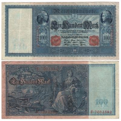 Německé císařství - bankovka 100 marek 1910, červený číslovač, bílý papír