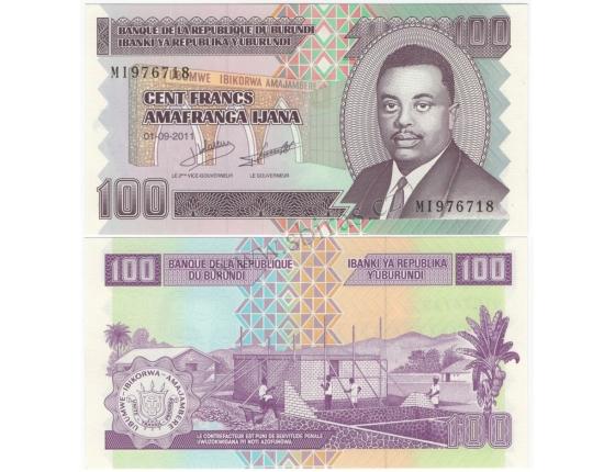 Burundi- bankovka 100 francs 2011 UNC