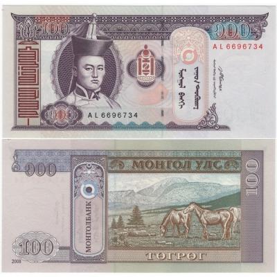 Mongolsko - bankovka 100 Tugrik 2008 UNC