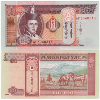Mongolsko - bankovka 20 Tugrik 2009 UNC