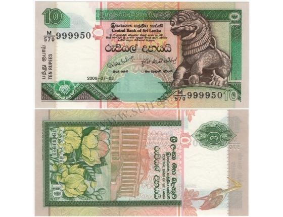 Srí Lanka - bankovka 10 rupees 2006 UNC
