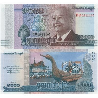 Kambodža - bankovka 1000 Riels 2002 UNC