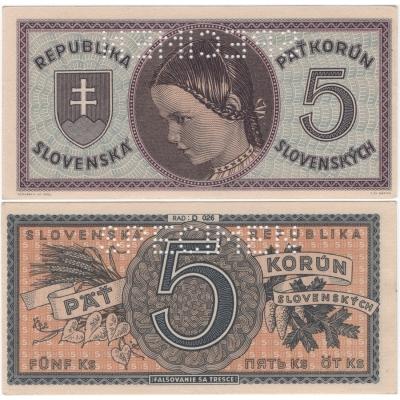 Slovenský štát - bankovka 5 korun 1945