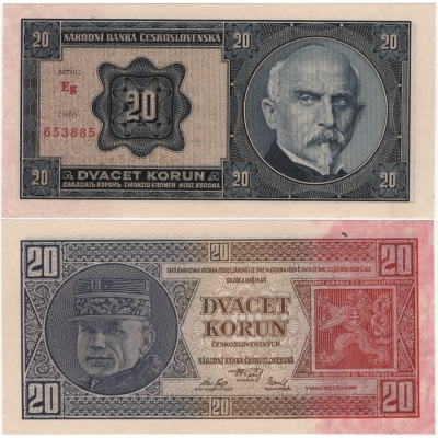 20 korun 1926 neperforovaná, série Eg UNC