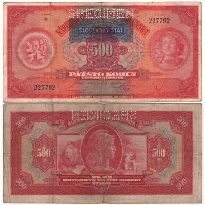 Slovenský štát - bankovka 500 korun 1929 přetisk