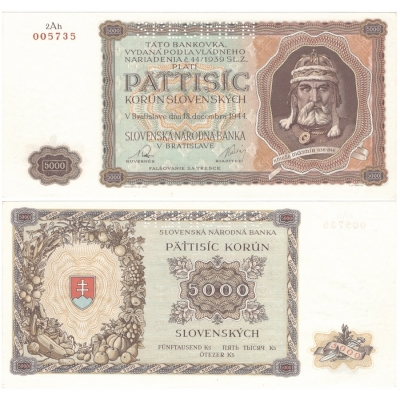 5000 korun 1944, nevydaná bankovka