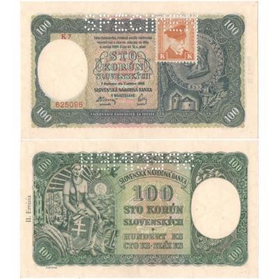 Slovenský štát - 100 korun 1940, II. emise, kolek