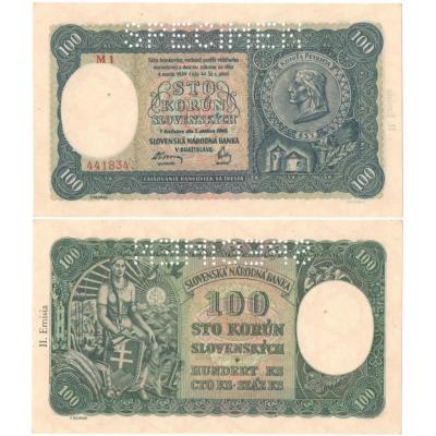 Slovenský štát - 100 korun 1940, II. emise