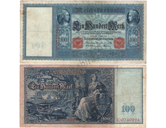 Německé císařství - bankovka 100 marek 1908